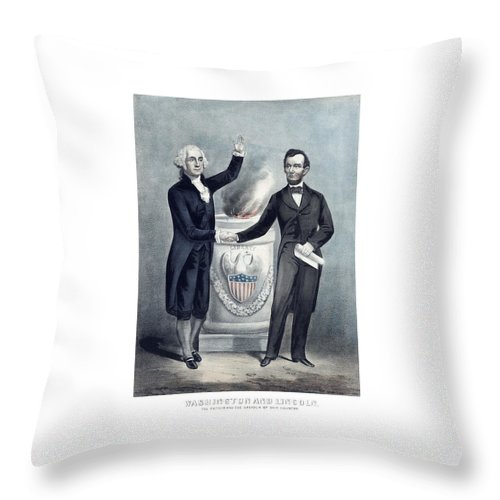 Abraham Lincoln Throw Pillow featuring the painting Washington And Lincoln by War Is Hell Store