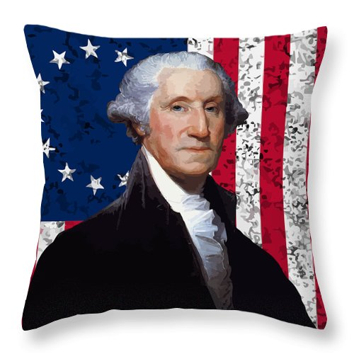 George Washington Throw Pillow featuring the painting Washington and The American Flag by War Is Hell Store