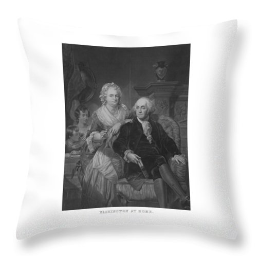 President Washington Throw Pillow featuring the mixed media Washington At Home by War Is Hell Store