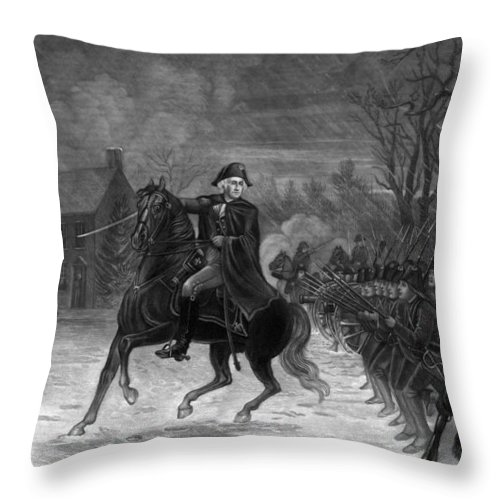 George Washington Throw Pillow featuring the painting Washington At The Battle Of Trenton by War Is Hell Store
