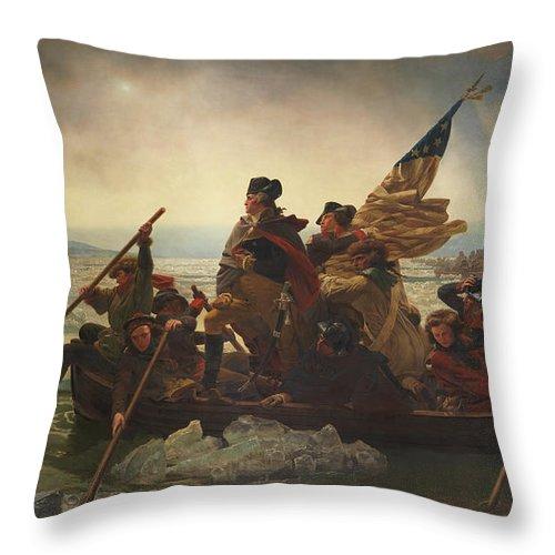 Washington Crossing The Delaware Throw Pillow featuring the painting Washington Crossing the Delaware Painting by Emanuel Gottlieb Leutze