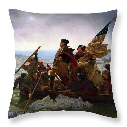 Washington Crossing The Delaware Throw Pillow featuring the painting Washington Crossing the Delaware Painting - Emanuel Gottlieb Leutze by War Is Hell Store