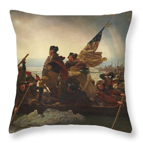 George Washington Throw Pillow featuring the painting Washington Crossing The Delaware by War Is Hell Store