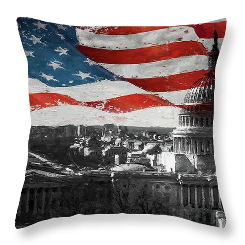 American Throw Pillow featuring the painting Washington Dc 56t by Gull G