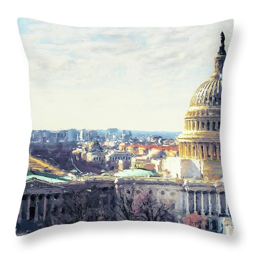 American Throw Pillow featuring the painting Washington Dc Building 9i8 by Gull G