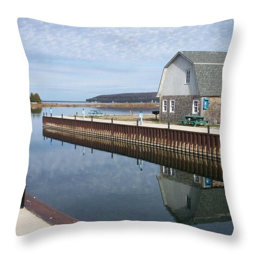 Washington Island Throw Pillow featuring the photograph Washington Island Harbor 2 by Anita Burgermeister