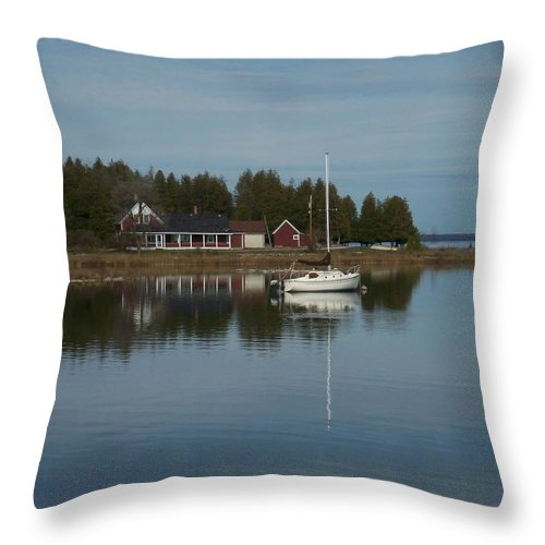 Washington Island Throw Pillow featuring the photograph Washington Island Harbor 3 by Anita Burgermeister