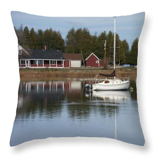 Washington Island Throw Pillow featuring the photograph Washington Island Harbor 4 by Anita Burgermeister
