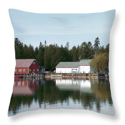 Washington Island Throw Pillow featuring the photograph Washington Island Harbor 7 by Anita Burgermeister