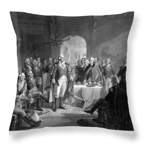 George Washington Throw Pillow featuring the drawing Washington Meeting His Generals by War Is Hell Store