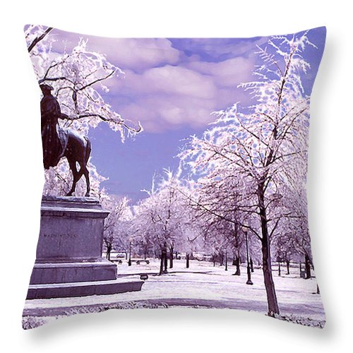 Landscape Throw Pillow featuring the photograph Washington Square Park by Steve Karol