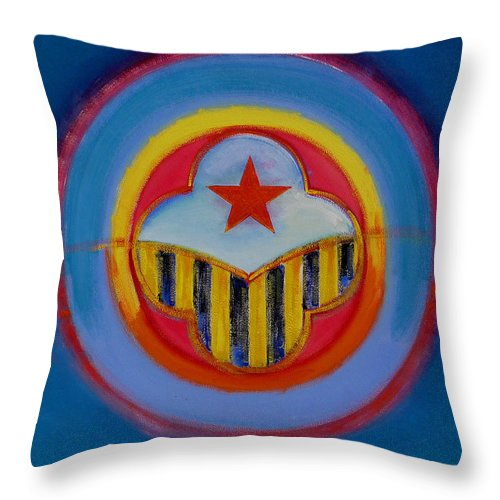 Button Throw Pillow featuring the painting Wasp by Charles Stuart