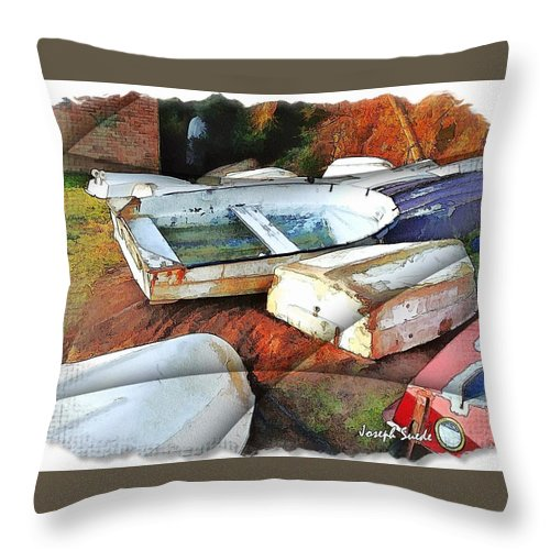 Boats Throw Pillow featuring the photograph Wat-0012 Tender Boats by Digital Oil
