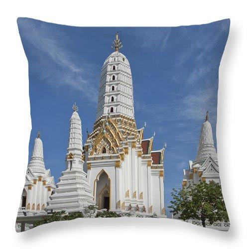 Bangkok Throw Pillow featuring the photograph Wat Phitchaya Yatikaram Prangs Dthb1186 by Gerry Gantt