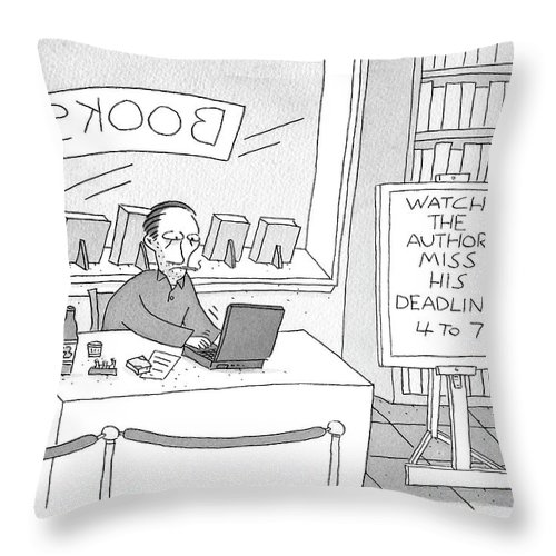 """""""watch The Author Miss His Deadline 4 To 7"""" Throw Pillow featuring the drawing Watch The Author Miss His Deadline by Peter C Vey"""
