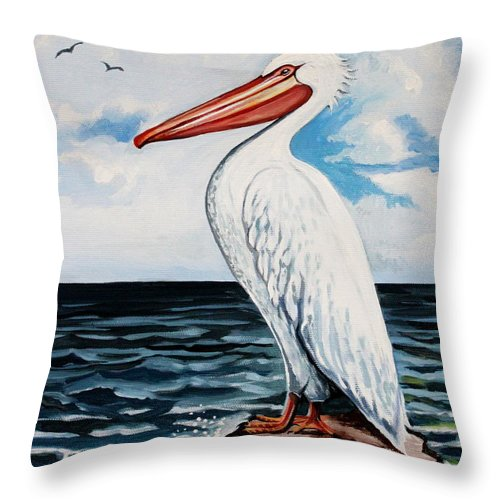 Bird Throw Pillow featuring the painting Watcher Of The Sea by Elizabeth Robinette Tyndall