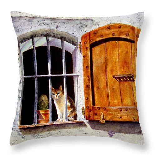 Cat Throw Pillow featuring the painting Watchful Eyes by Karen Fleschler