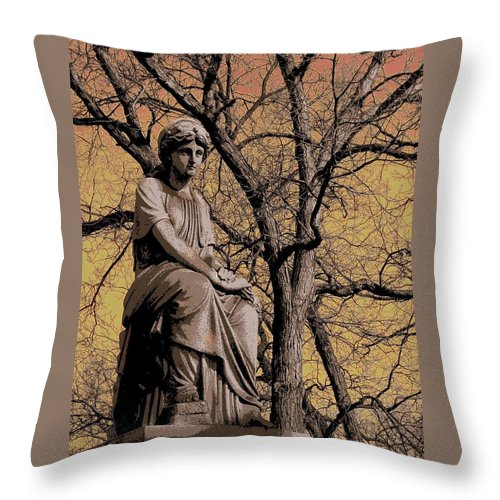 Statue Throw Pillow featuring the digital art Watching Over by Anita Burgermeister