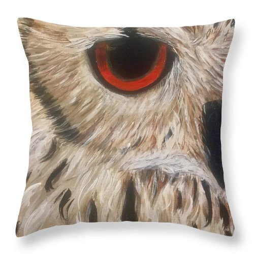 Owl Orange Throw Pillow featuring the painting Watching Over You by Koni Webb Bosch