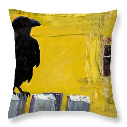 Pat Saunders-white Canvas Prints Throw Pillow featuring the painting Watching by Pat Saunders-White
