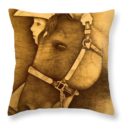 Pyrography;wood Burning; Horse; Western; Halter;cowboy; Hat; Rodeo; Throw Pillow featuring the pyrography Watching The Competition by Jo Schwartz