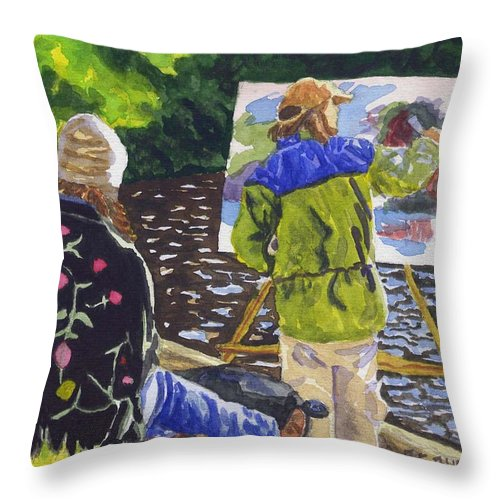 Artist Throw Pillow featuring the painting Watching the Maestro by Sharon E Allen
