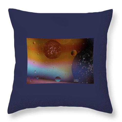 Water Throw Pillow featuring the digital art Water And Oil Collide by Rita Hill
