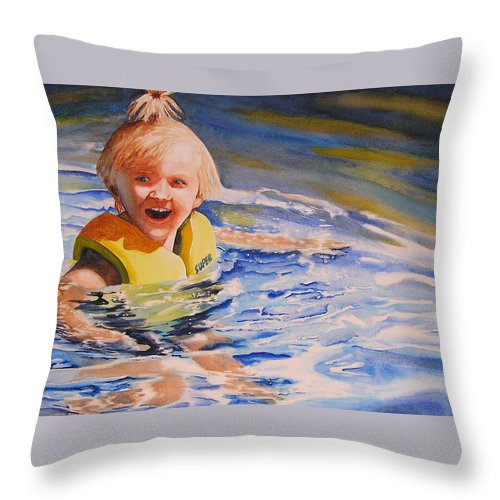Swimming Throw Pillow featuring the painting Water Baby by Karen Stark