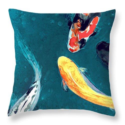Koi Throw Pillow featuring the painting Water Ballet by Brazen Design Studio
