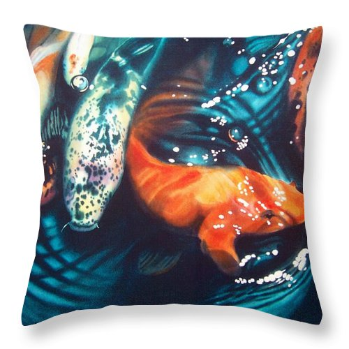 Koi Throw Pillow featuring the painting Water Ballet by Denny Bond