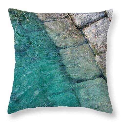 Water Blocks Bricks Throw Pillow featuring the photograph Water Blocks by Rob Hans