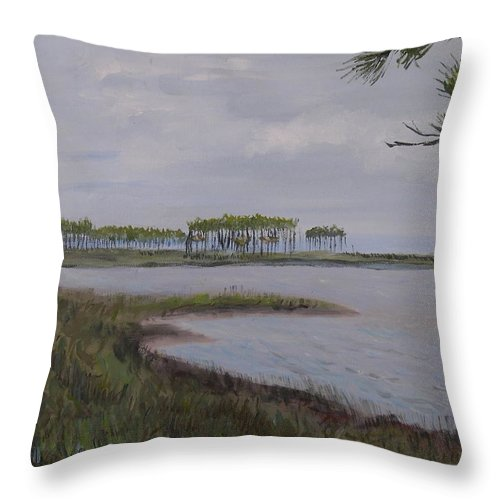 Landscape Beach Coast Tree Water Throw Pillow featuring the painting Water Color by Patricia Caldwell