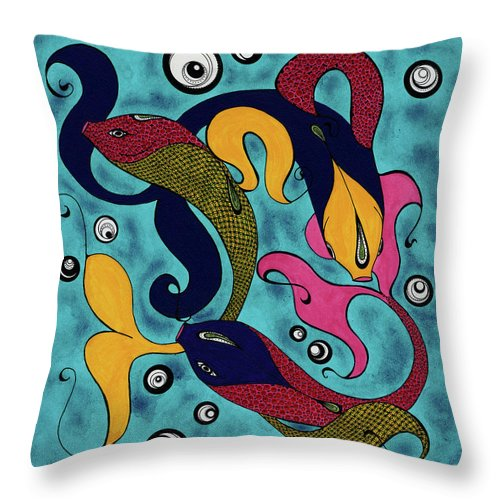 Fish Throw Pillow featuring the drawing Water Dance by Michele Sleight