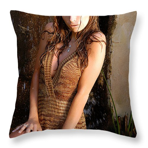 Clay Throw Pillow featuring the photograph Water Fall Beauty by Clayton Bruster