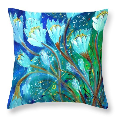 Flowers Throw Pillow featuring the painting Water Flowers by Luiza Vizoli