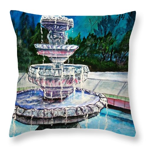 Acrylic Throw Pillow featuring the painting Water Fountain Acrylic Painting Art Print by Derek Mccrea