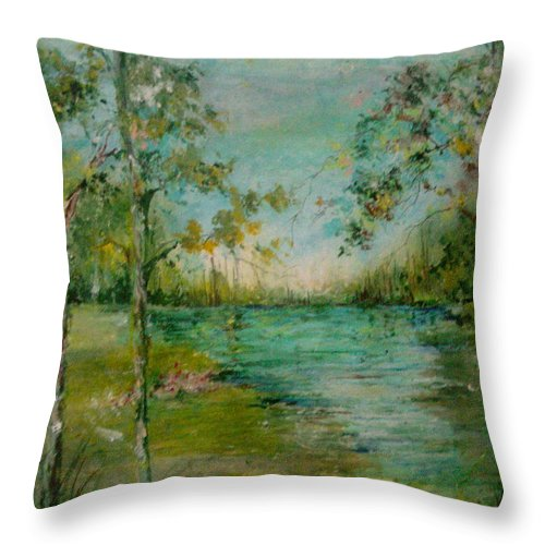 Trees Throw Pillow featuring the painting Water In Springtime by Robin Miller-Bookhout