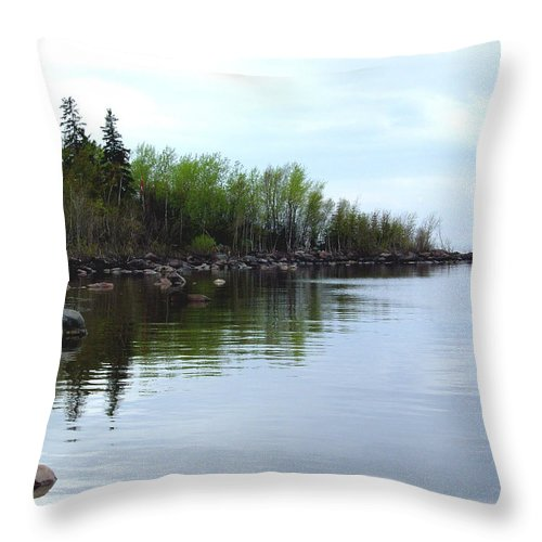 Grand Beach Shoreline Throw Pillow featuring the photograph Water Like Glass by Joanne Smoley