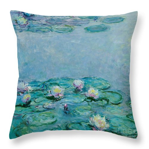 French Throw Pillow featuring the painting Water Lilies by Claude Monet