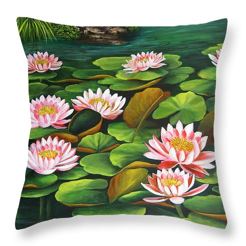 Floral Throw Pillow featuring the painting Water Lilies by Dominica Alcantara