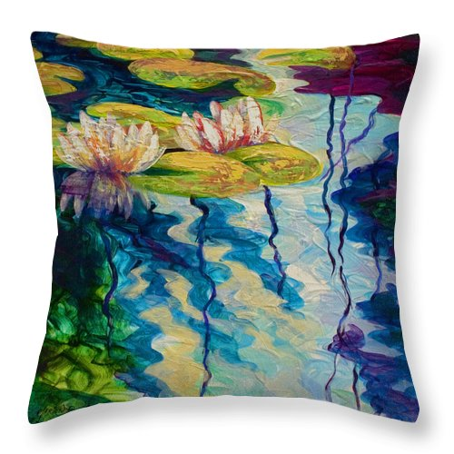 Water Lily Throw Pillow featuring the painting Water Lilies I by Marion Rose