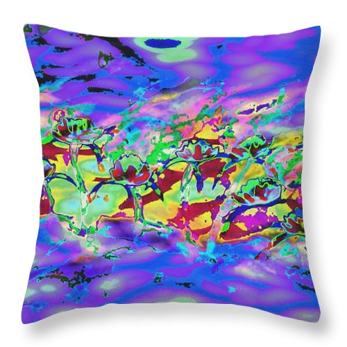 Abstract Throw Pillow featuring the painting water lilies In twilight by Lynn Wood
