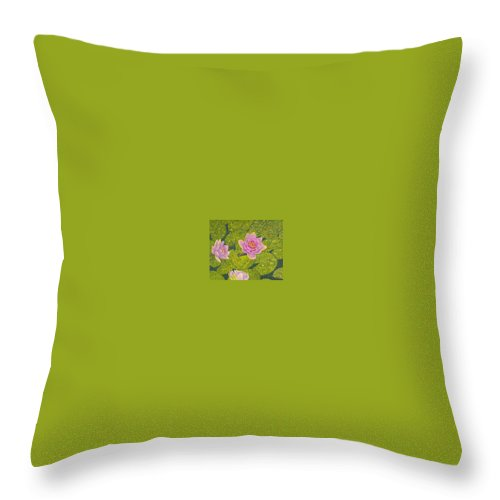 Water Lilies Throw Pillow featuring the drawing Water Lilies Lily Flowers Lotuses Fine Art Prints Contemporary Modern Art Garden Nature Botanical by Baslee Troutman