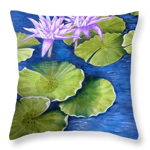 Water Lilies Throw Pillow featuring the painting Water Lilies by Mary Deal