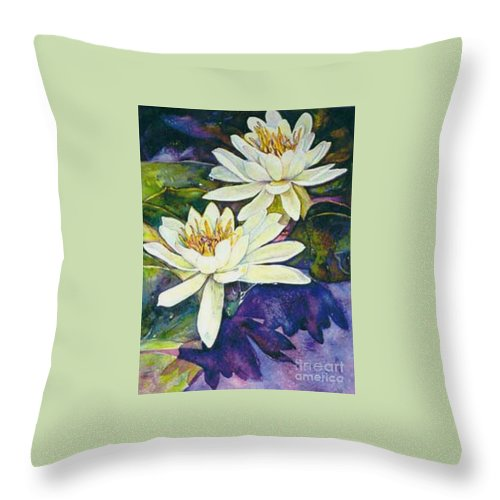 Flower Throw Pillow featuring the painting Water Lilies by Norma Boeckler