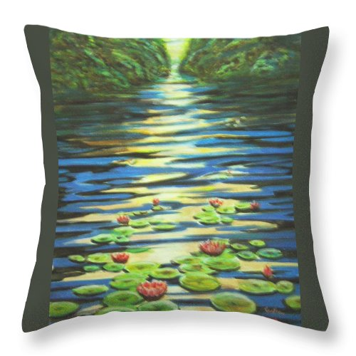 Dusk Throw Pillow featuring the painting Water Lillies At Dusk by Usha Shantharam