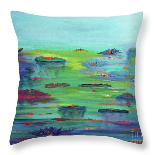 Water Lily Throw Pillow featuring the painting Water Lillies by Stacey Zimmerman