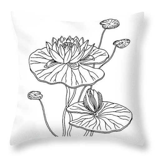 Water Lily Flower Botanical Drawing Throw Pillow For Sale By Irina Sztukowski