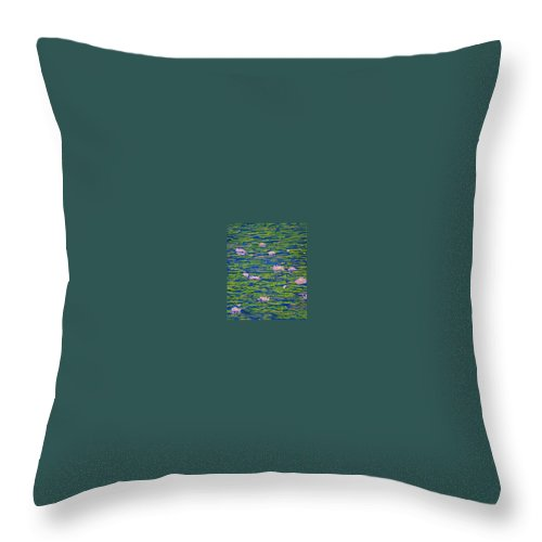 Lotuses Throw Pillow featuring the drawing Water Lily Flowers Happy Water Lilies Fine Art Prints Giclee High Quality Impressive Color Lotuses by Baslee Troutman