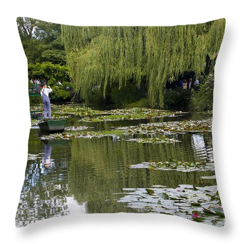 Monet Gardens Giverny France Water Lily Punt Boat Water Willows Throw Pillow featuring the photograph Water Lily Garden Of Monet In Giverny by Avalon Fine Art Photography